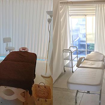 2Fのサロンスペース、施術中はカーテンで仕切られます。